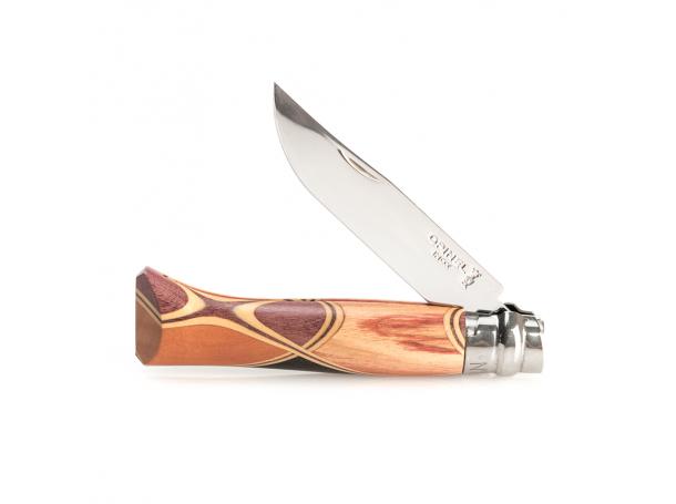 سكين جيب من اوبينال رقم 8 بمقبض خشبي  ملون و حد اينوكس مع جراب