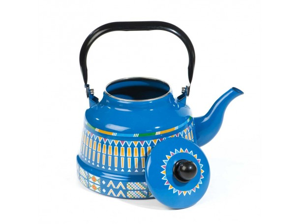 ابريق شاي عسيري ازرق منقوش