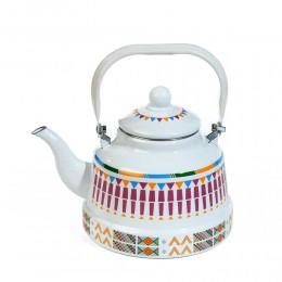 ابريق شاي عسيري ابيض منقوش