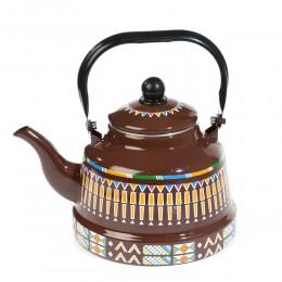 ابريق شاي عسيري بني منقوش